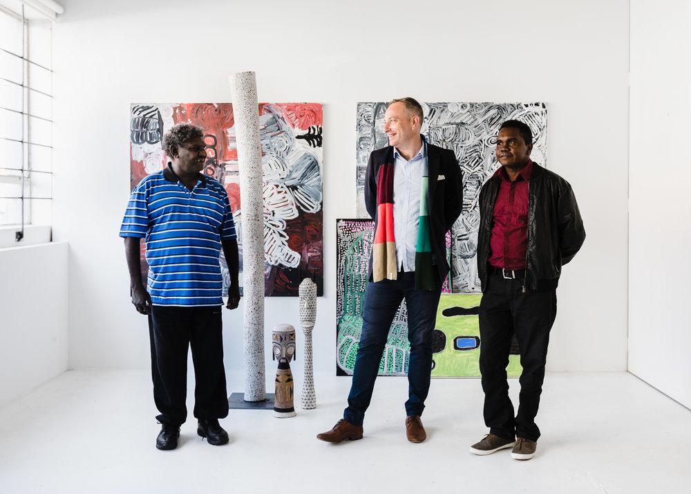 [L-R] Wukun Wanambi, Kade McDonald and Yinimala Gumana. Image courtesy Amelia Stanwix.