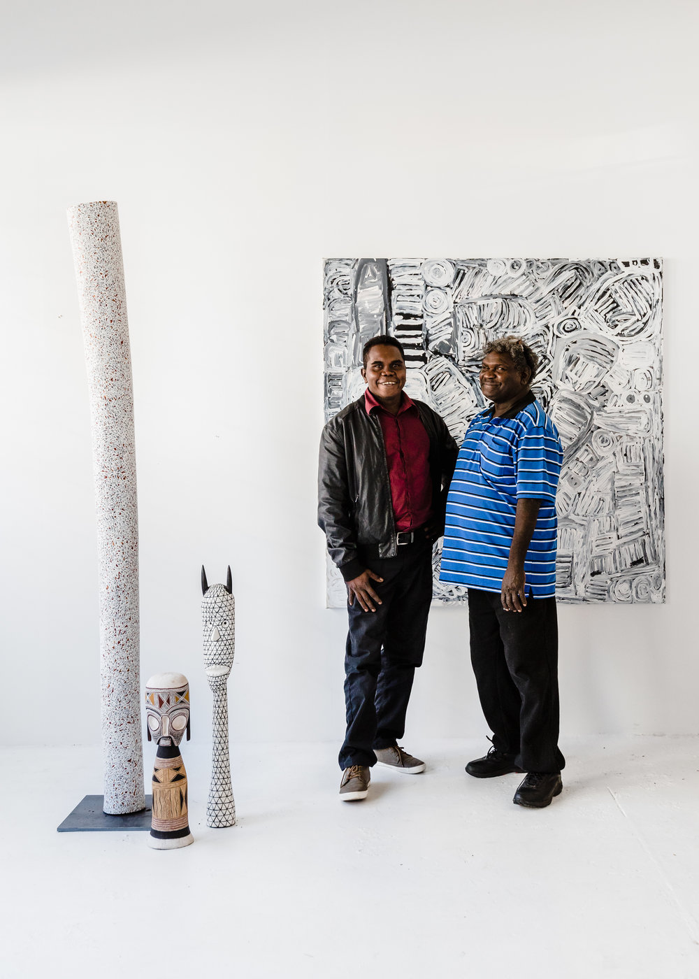 Wukun Wanambi and Yinimala Gumana, two talented curators and artists from Yirrkala. Image courtesy  Amelia Stanwix .