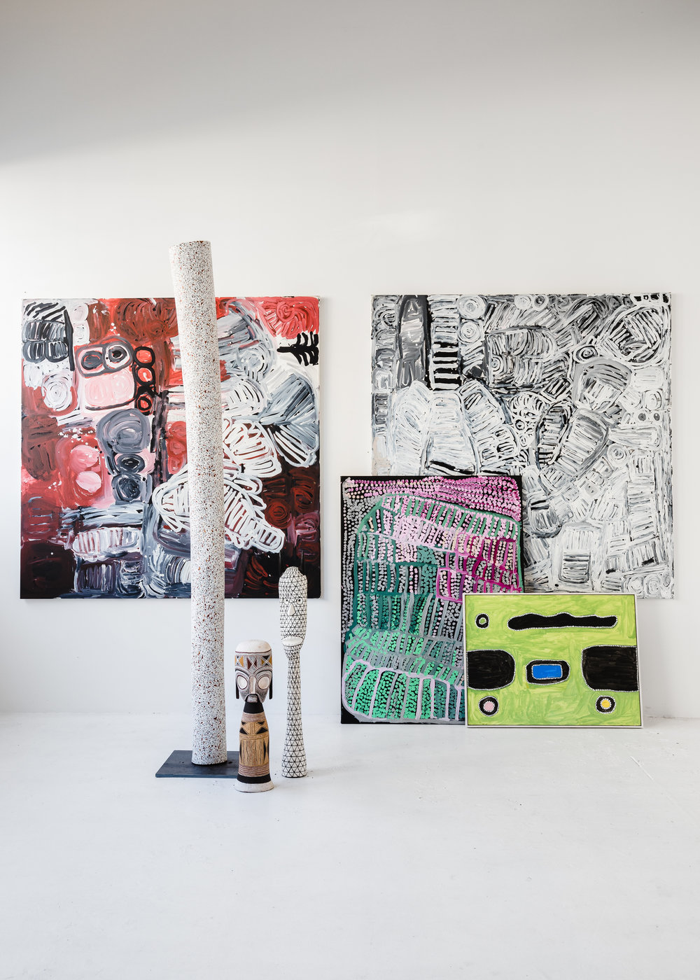 Selection of works from the Hanging Valley stockroom. Image courtesy Amelia Stanwix.