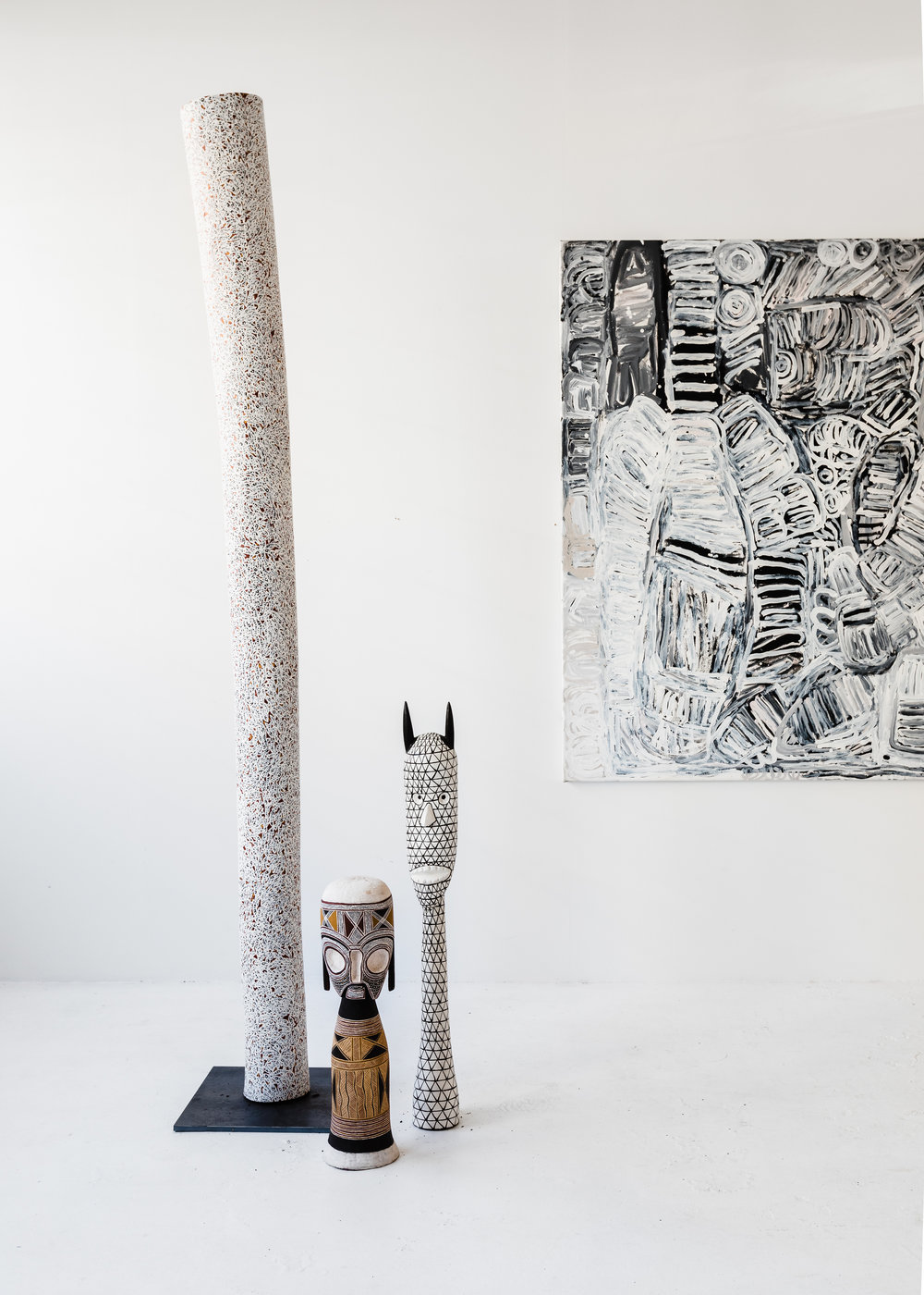 Works by Wukun Wanambi, Nawurapu Wunungmurra and Sonia Kurarra. Image courtesy Amelia Stanwix.
