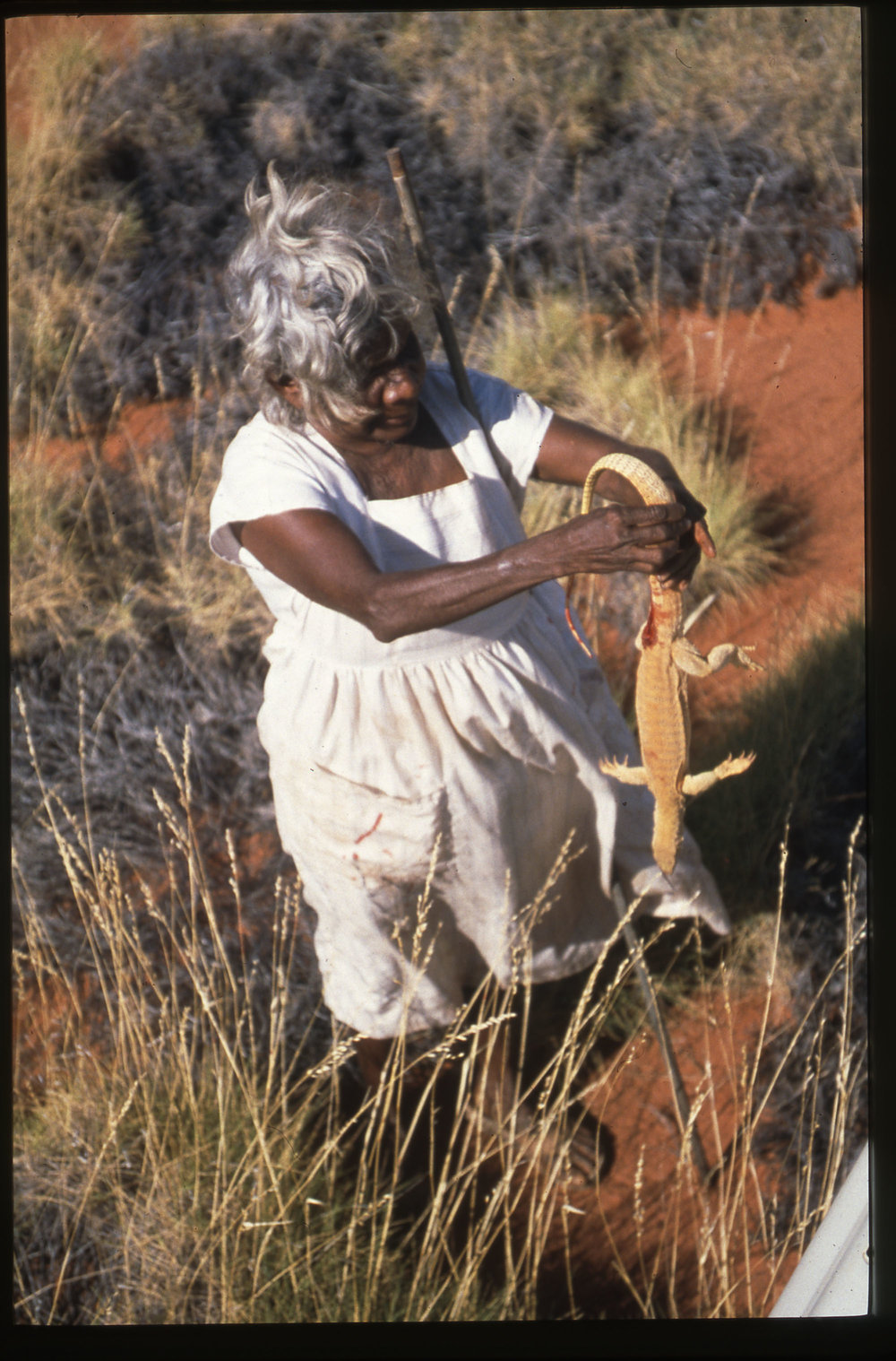 Historical image of Nada on a trip to Warla – the salt lakes in her country – in the 1990s. Photo:  Mangkaja Arts .