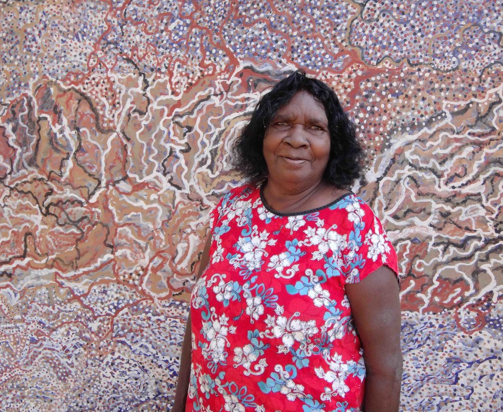 Mavis Ngallametta in front of  Kendall River , 2012. Photo: Martin Browne.