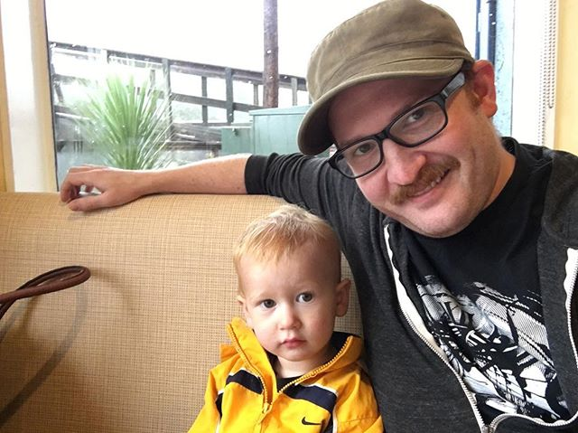 Brunch with the little man and my post-Halloween mustache. Can't believe nobody called the cops. #parenting