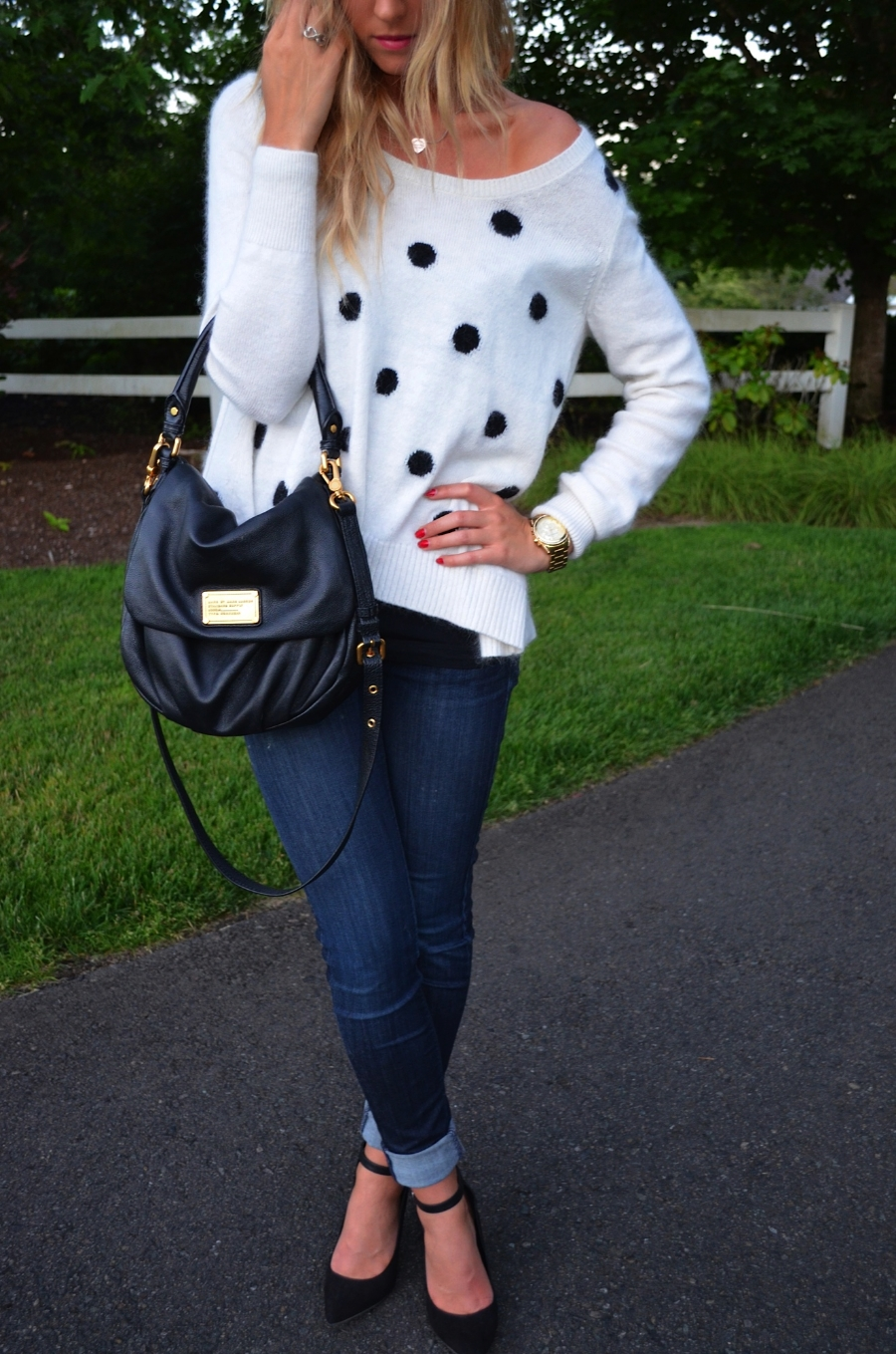 Sweater // Old, but I love this one! Cute & affordable :) here Jeans // Hudson via Nordstrom Shoes // Old, but similar ones here Handbag // Marc by Marc Jacobs Watch // Michael Kors