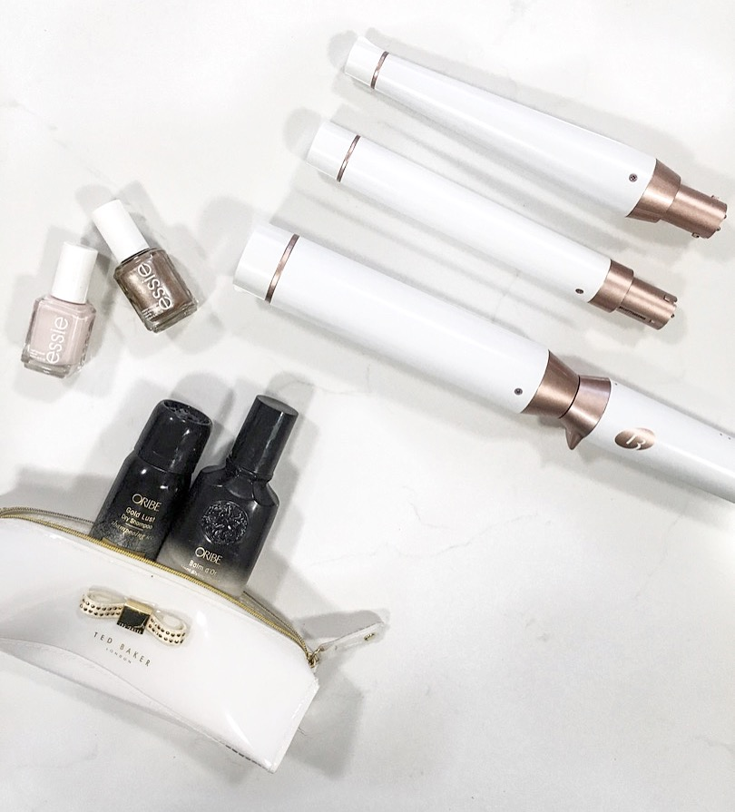 Curling Iron Trio | Pink Essie Polish | Gold Essie Polish | Gold Lust Dry Shampoo | Balm d'Or