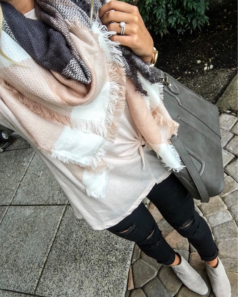 Scarf | Top | Pants | Purse | Similar booties