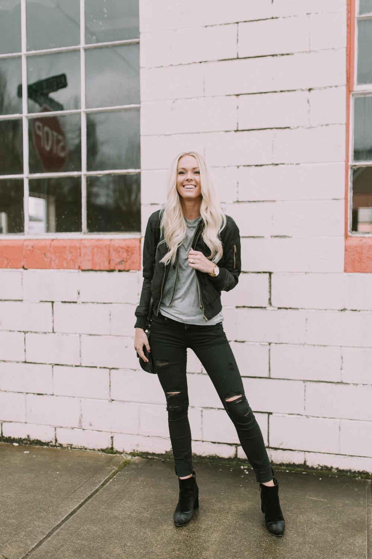 Black Hooded Bomber Jacket | Fall & Winter style | Shop Karlie Rae xxkarlierae.com