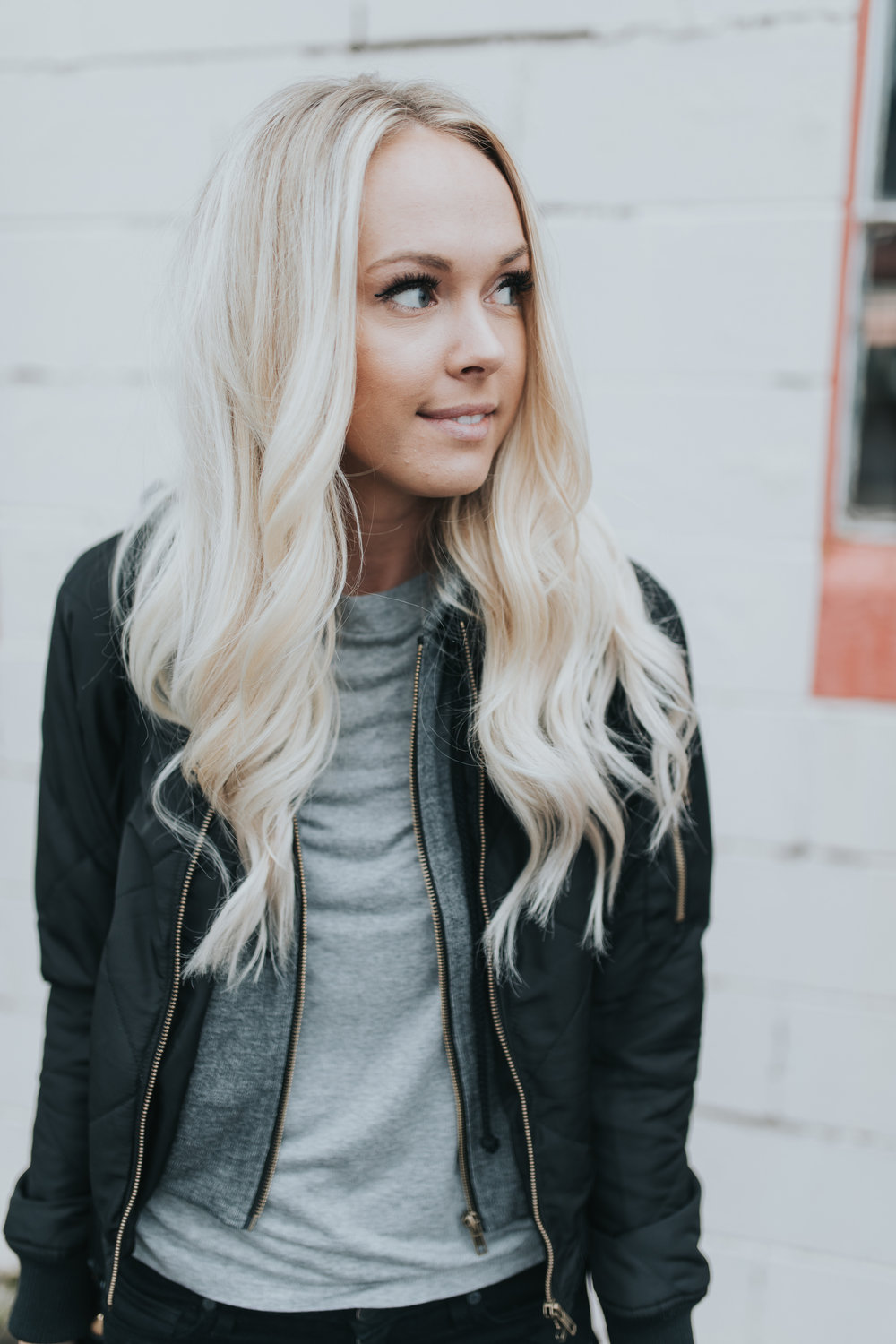 Shop KarlieRae hooded bomber jacket
