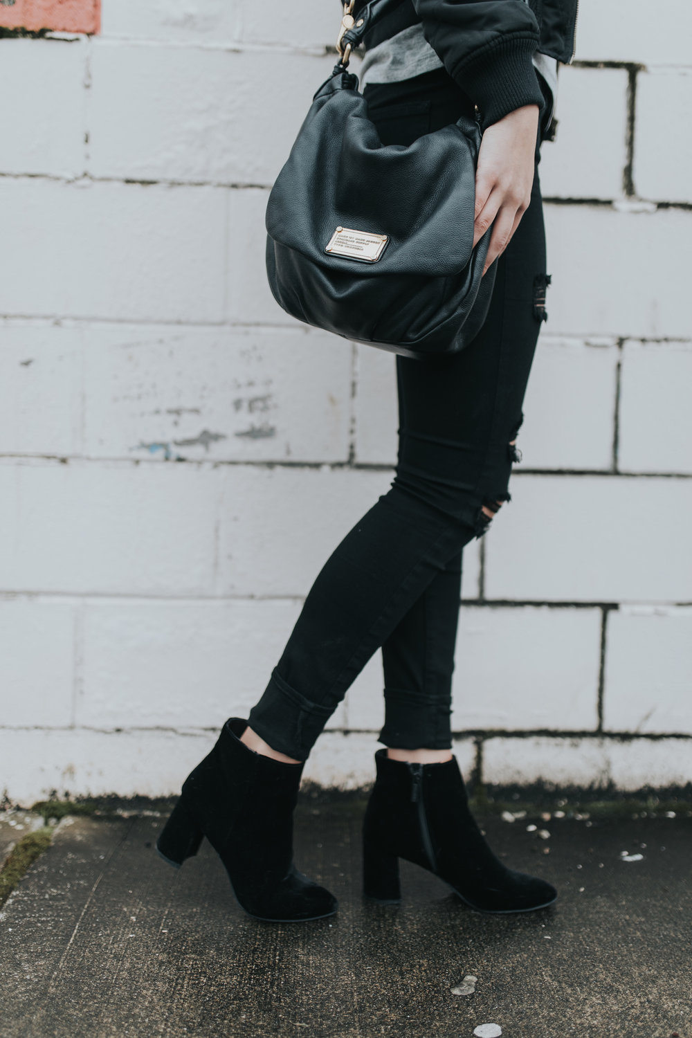 Paige ripped black denim | windsor booties | marc jacobs handbag