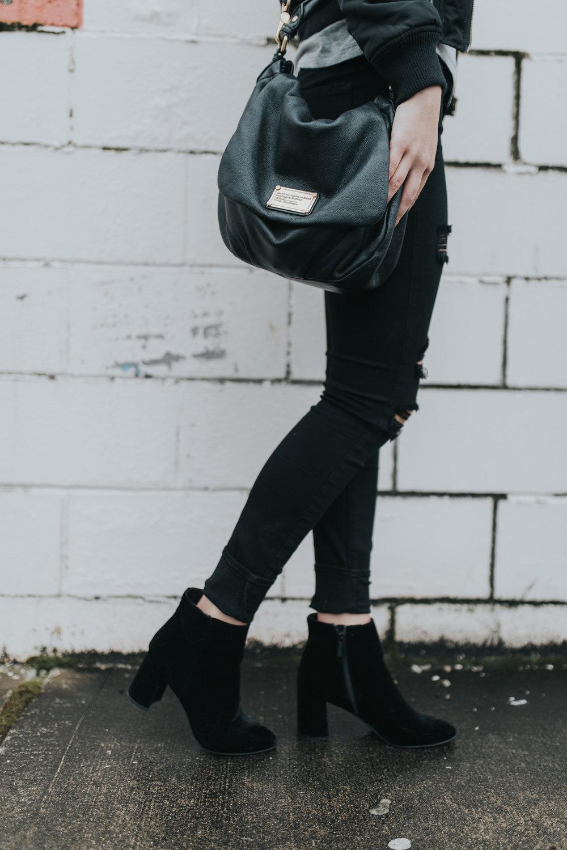 Paige ripped black denim | windsor booties | marc jacobs handbag