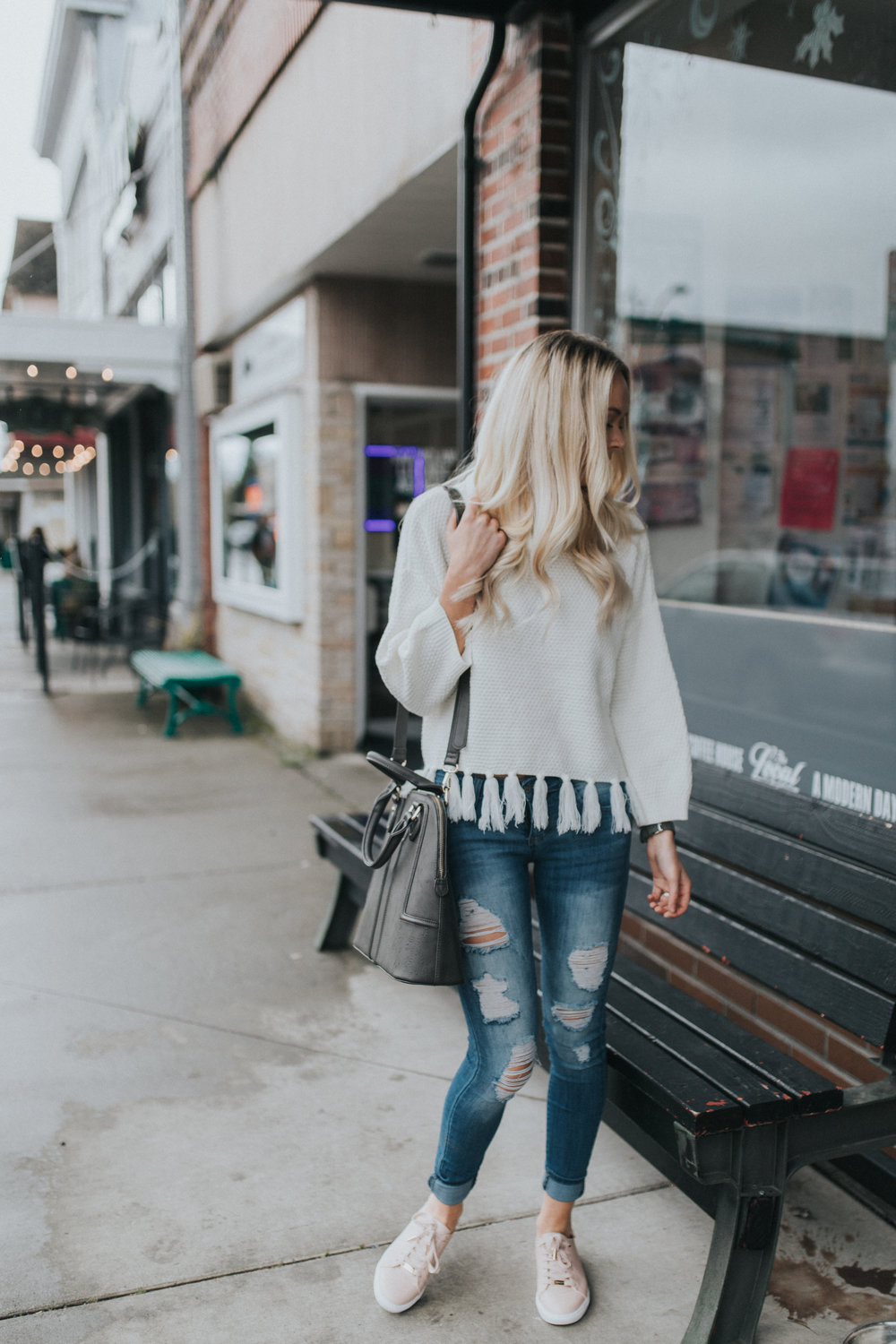 Shop KarlieRae fringe sweater