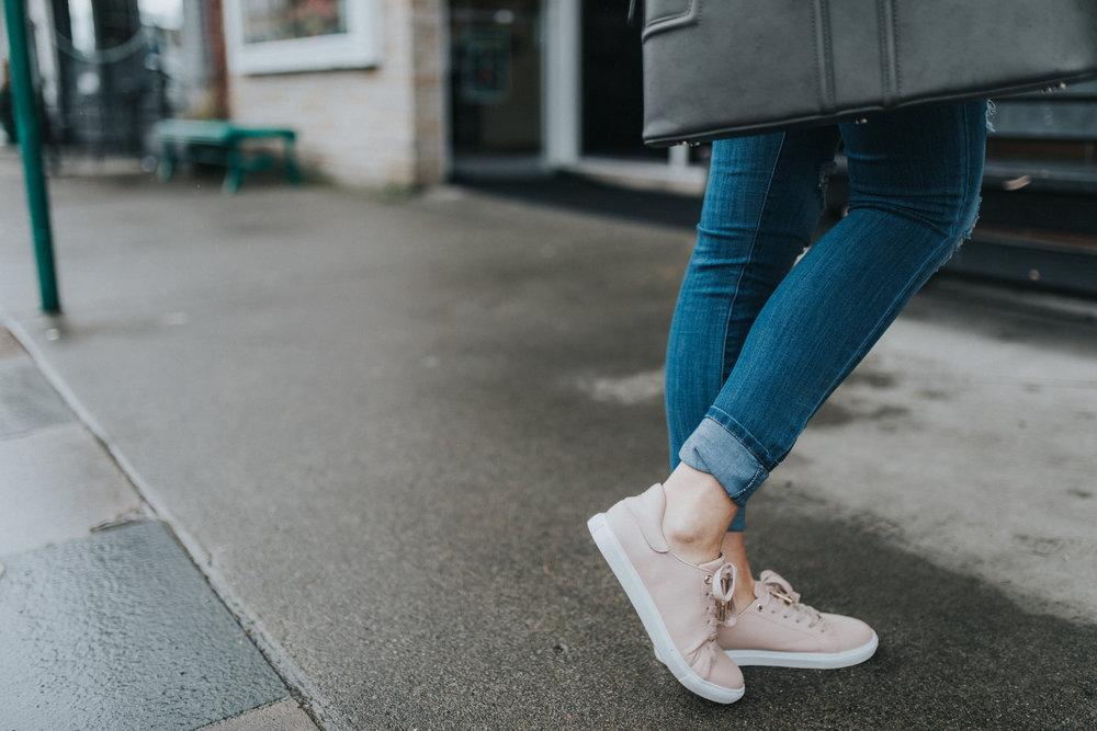 Topshop blush sneakers | @karlierae