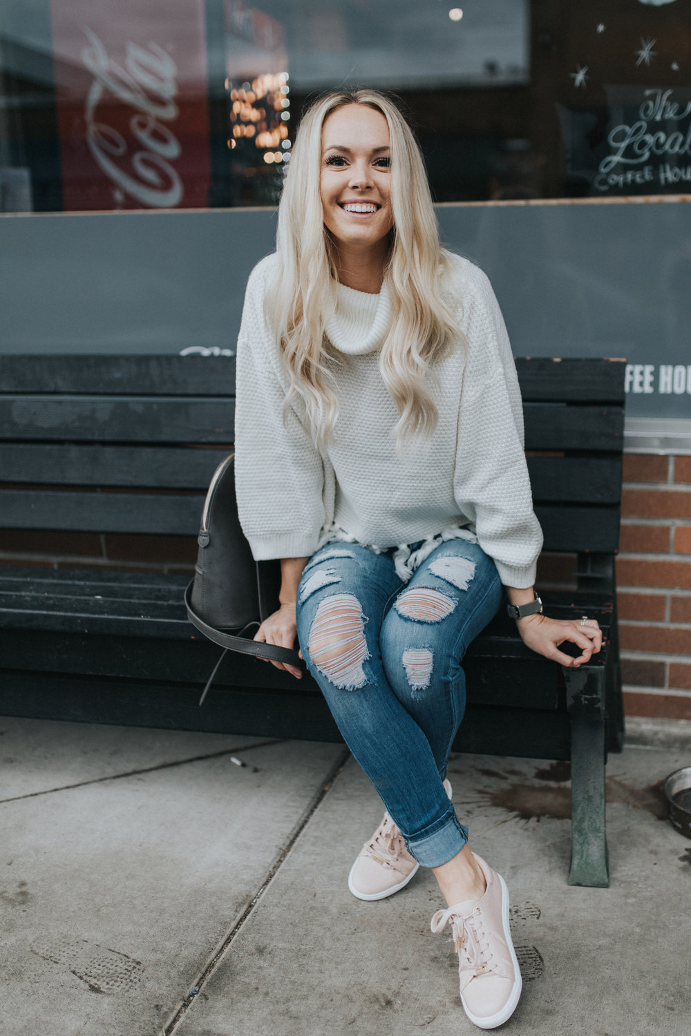 Shop KarlieRae fringe sweater | Topshop blush sneakers | @karlierae