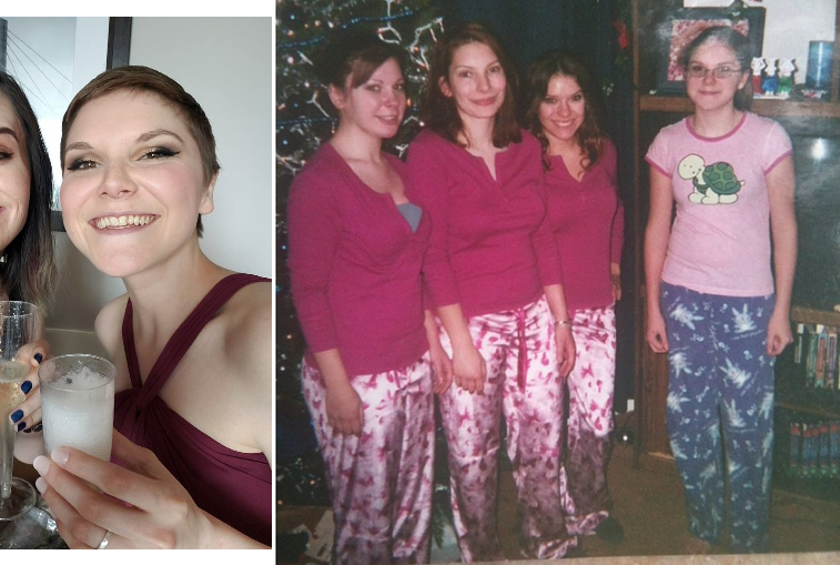 (right photo) Me at age 13 standing with my 3 beautiful sisters... I think we can all relate to this picture XD