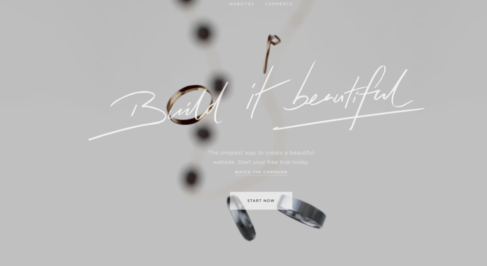 Squarespace.com, using video as a background with metallic objects.