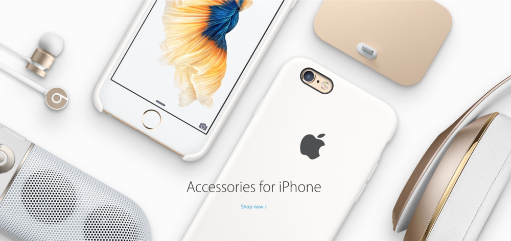 Apple.com - showcasing a mix of product photography and metallic illustrated elements.