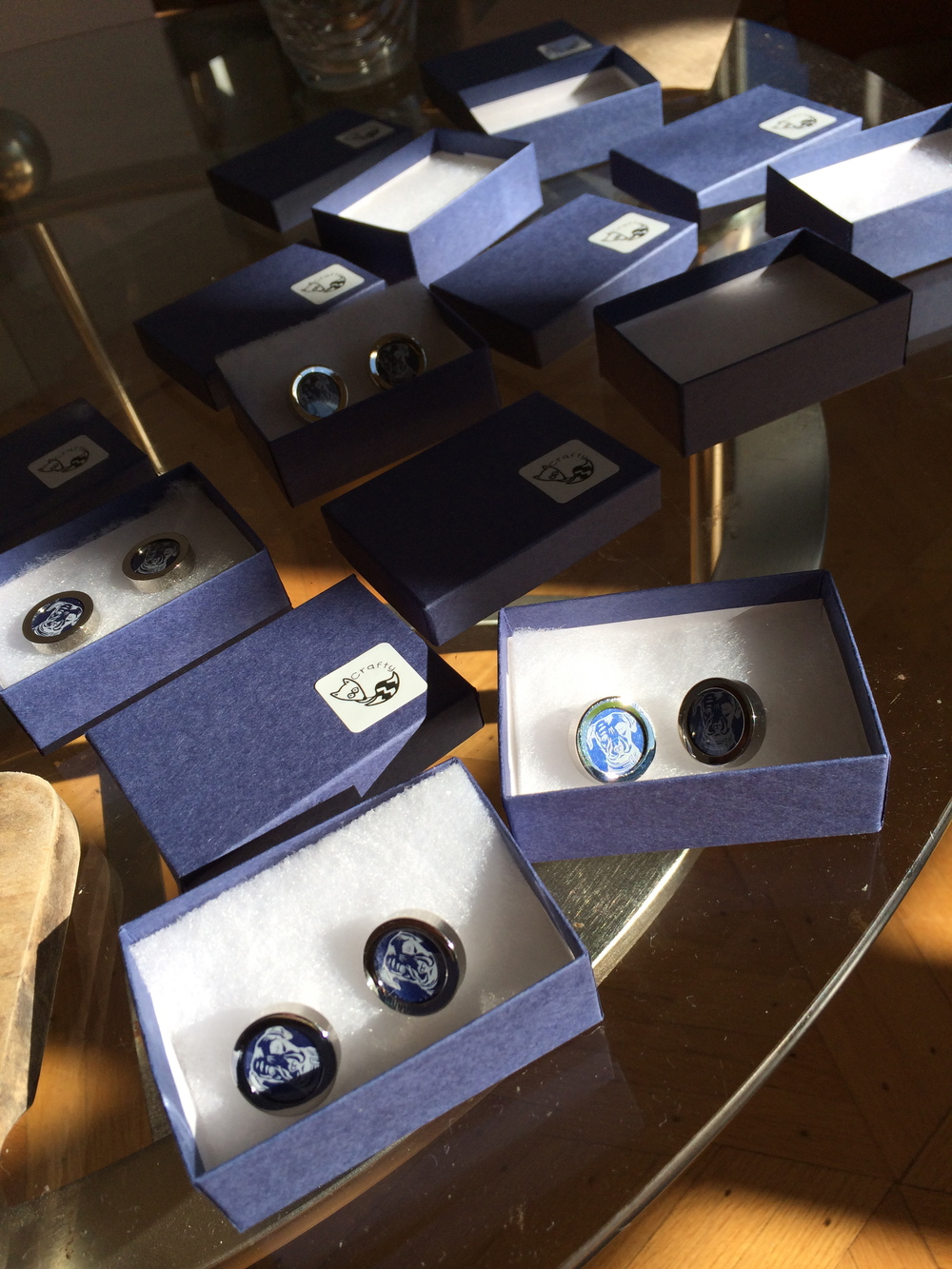 Blue Cufflinks Packaged for Shipment