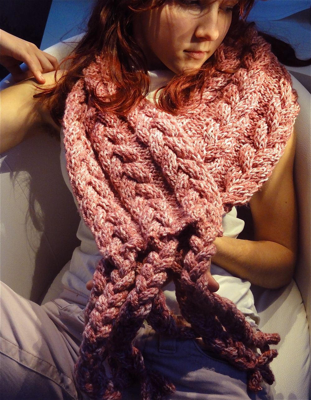 Fancy Braided Pink Mohair Scarf.jpg