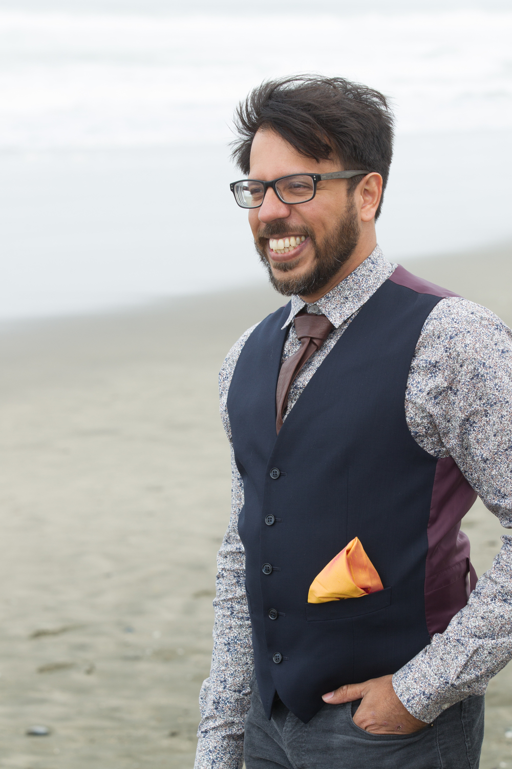Pair the raw silk pocket square with a leather tie and a vest for a true hipster look.