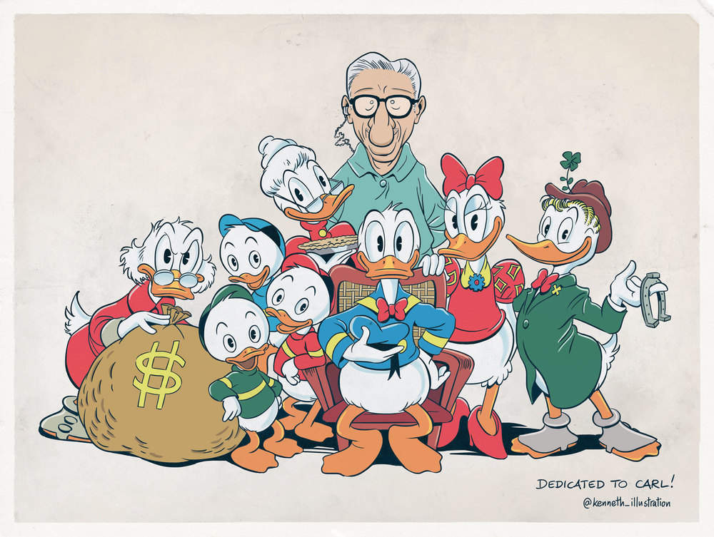 Duck family portrait with Carl Barks.