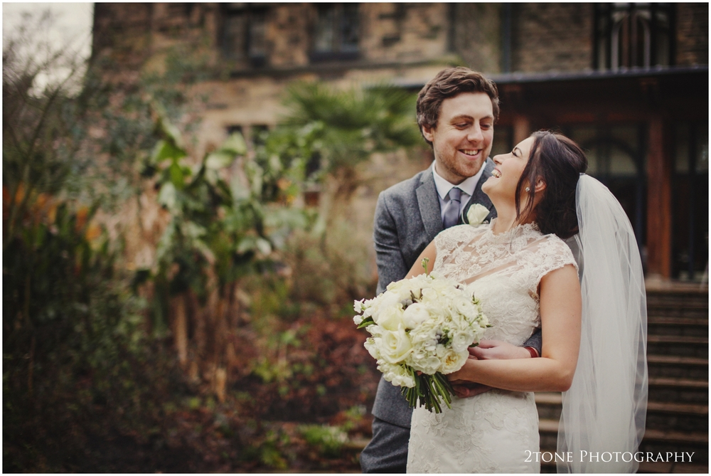 Bride and Groom at Winter Jesmond Dene House Hotel newcastle