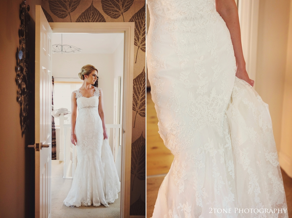 Danielle looks breathtaking in her lace fishtail wedding gown.