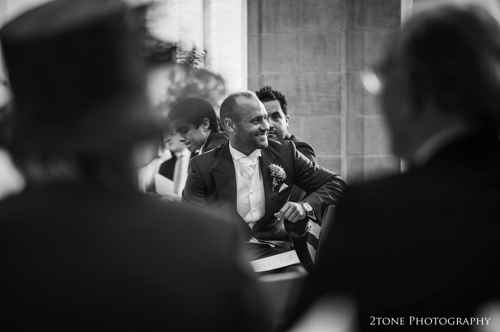 Grooms waiting in church.  St Brandon's church, Brancepeth Durham.  Wedding photography by www.2tonephotography.co.uk