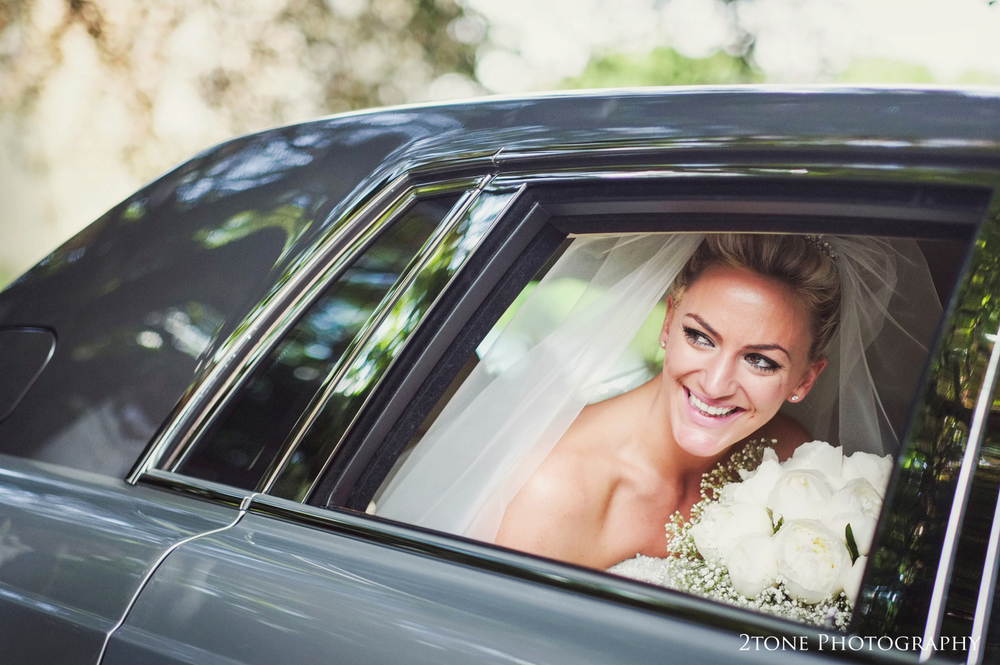 Sarah arrived in style to her wedding in St Brandon's church.