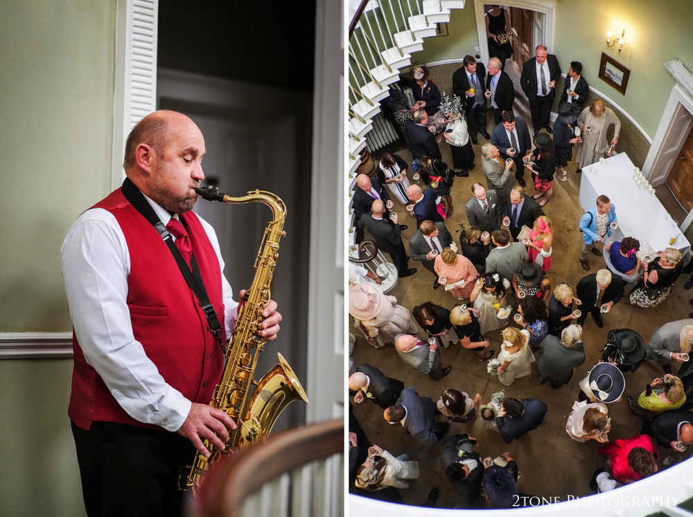 Wedding guests enjoyed drinks and canapés whilst being entertained by saxophonist Harry Mears.