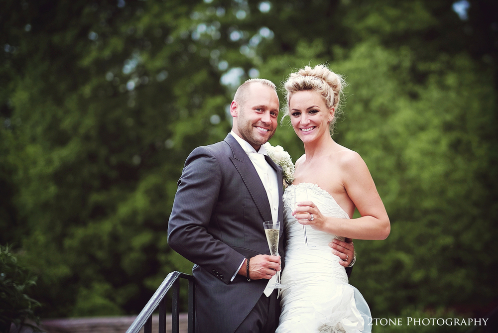 Bride and groom at Middleton Lodge.  Wedding photography by www.2tonephotography.co.uk