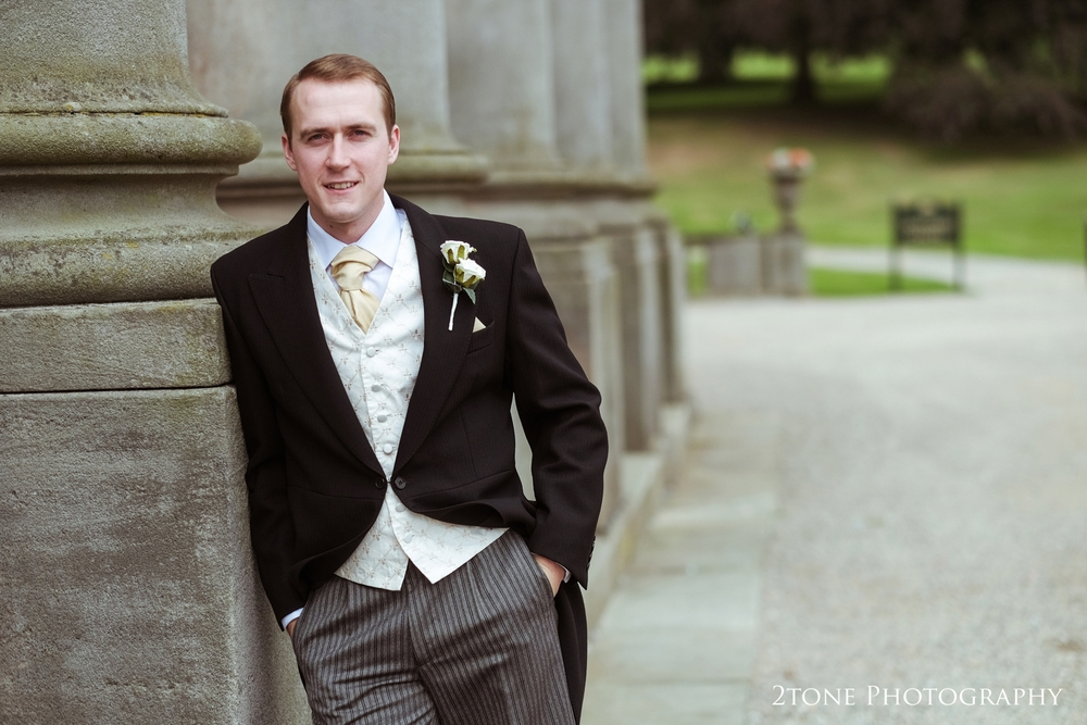Groom portrait at Wynyard Hall.  Wedding photography by www.2tonephotography.co.uk