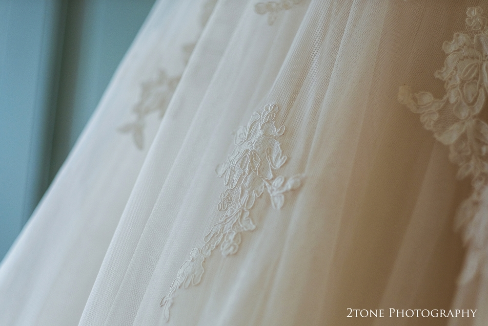 Wedding dress detail at Wynyard Hall.  Wedding photography by www.2tonephotography.co.uk