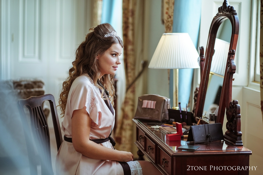 Bridal preparations in the Frances Anne suite at Wynyard Hall.  Wedding photography by www.2tonephotography.co.uk