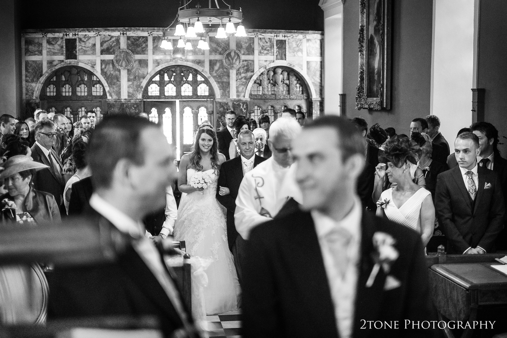 Wynyard Hall wedding in the chapel, bride's arrival.  Wedding photography by www.2tonephotography.co.uk