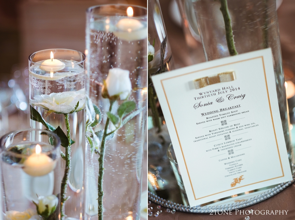 Classic styling while still keeping with the elegant fairytale theme for the wedding breakfast and table details.  The roses suspended in water filled glass vases become a subtle reference to the classic story of Beauty and the Beast.