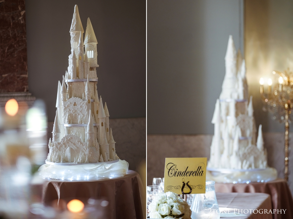 The top table even had it's own Cinderella castle, created by the talented girls at Celebration wedding cakes in Peterlee.