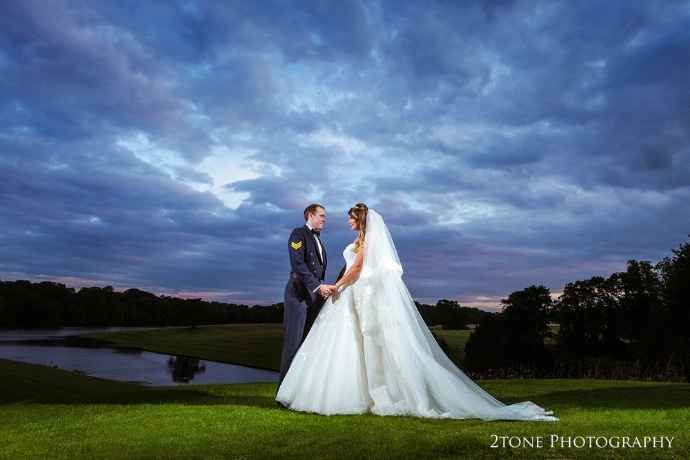 Wedding photography.  This magical sunset at Wynyard Hall looks like something from a fairytale.  Wedding first dance in Wynyard Hall's conservatory.  Wedding photography by www.2tonephotography.co.uk