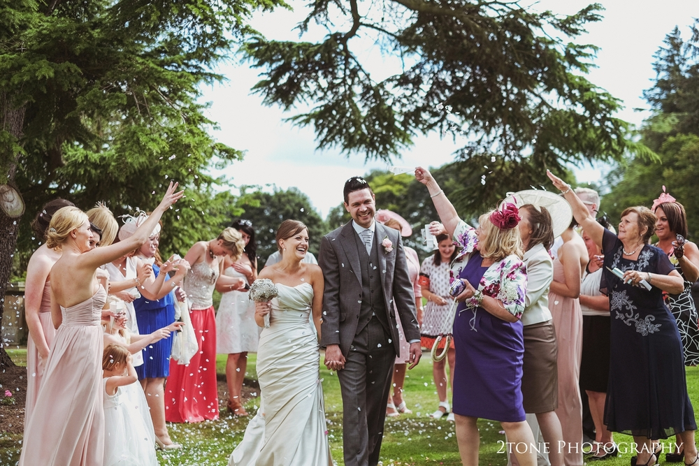 Wedding confetti at Doxford Hall in Northumberland.  Wedding Photography by Durham and Newcastle wedding photographers www.2tonephotography.co.uk