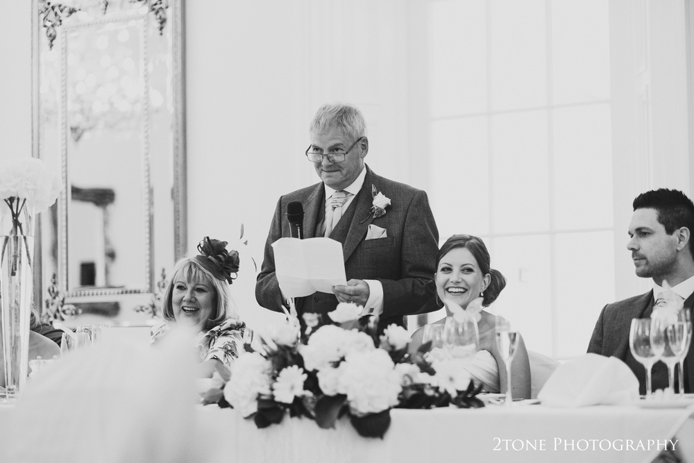 The father of the bride speech at Doxford Hall in Northumberland.  Wedding Photography by Durham and Newcastle wedding photographers www.2tonephotography.co.uk