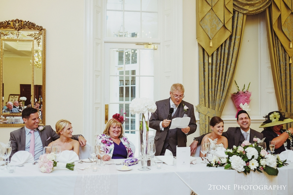 The bride's fathers speech at Doxford Hall in Northumberland.  Wedding Photography by Durham and Newcastle wedding photographers www.2tonephotography.co.uk