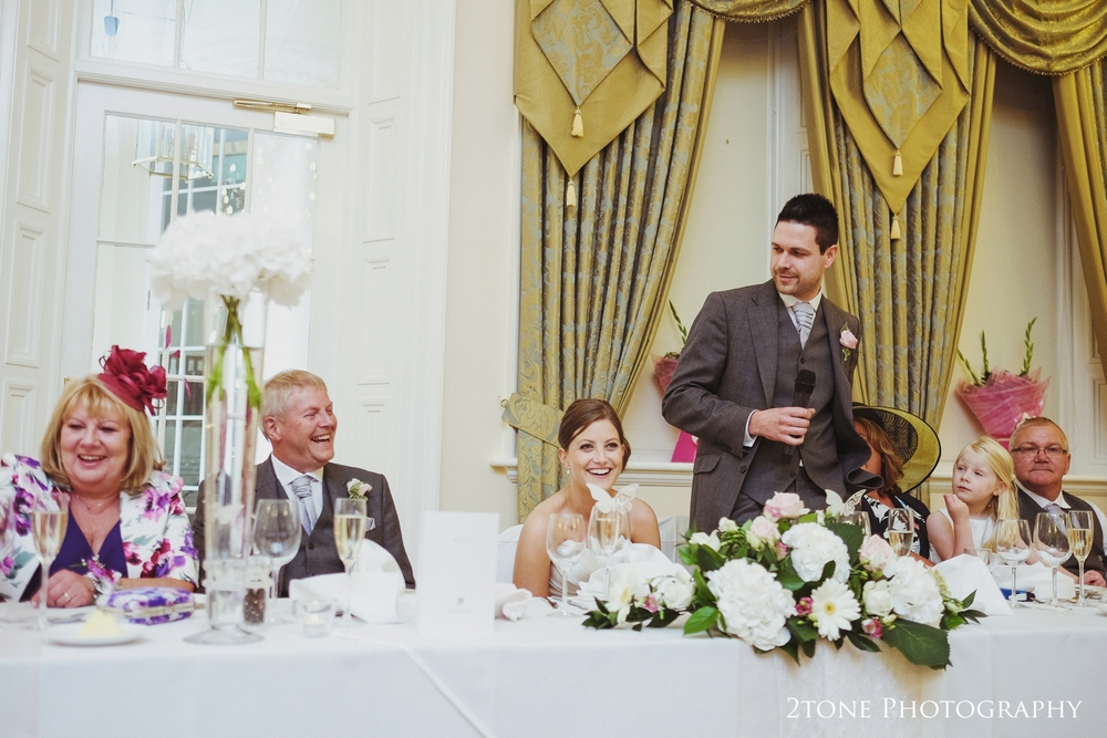The groom's wedding speech at Doxford Hall in Northumberland.  Wedding Photography by Durham and Newcastle wedding photographers www.2tonephotography.co.uk