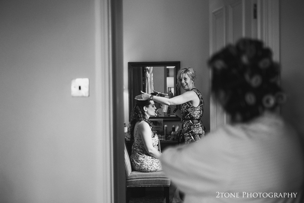 Bridal preparations.  Matfen Hall wedding photography by award winning durham wedding photographer www.2tonephotography.co.uk