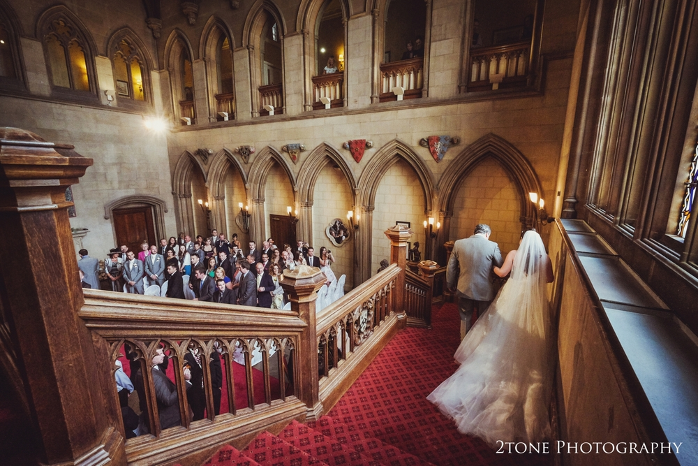 The great hall at Matfen Hall.  Matfen Hall wedding photography by award winning durham wedding photographer www.2tonephotography.co.uk
