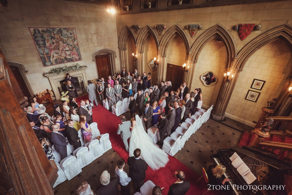 Wedding in the great hall.  Matfen Hall wedding photography by award winning durham wedding photographer www.2tonephotography.co.uk