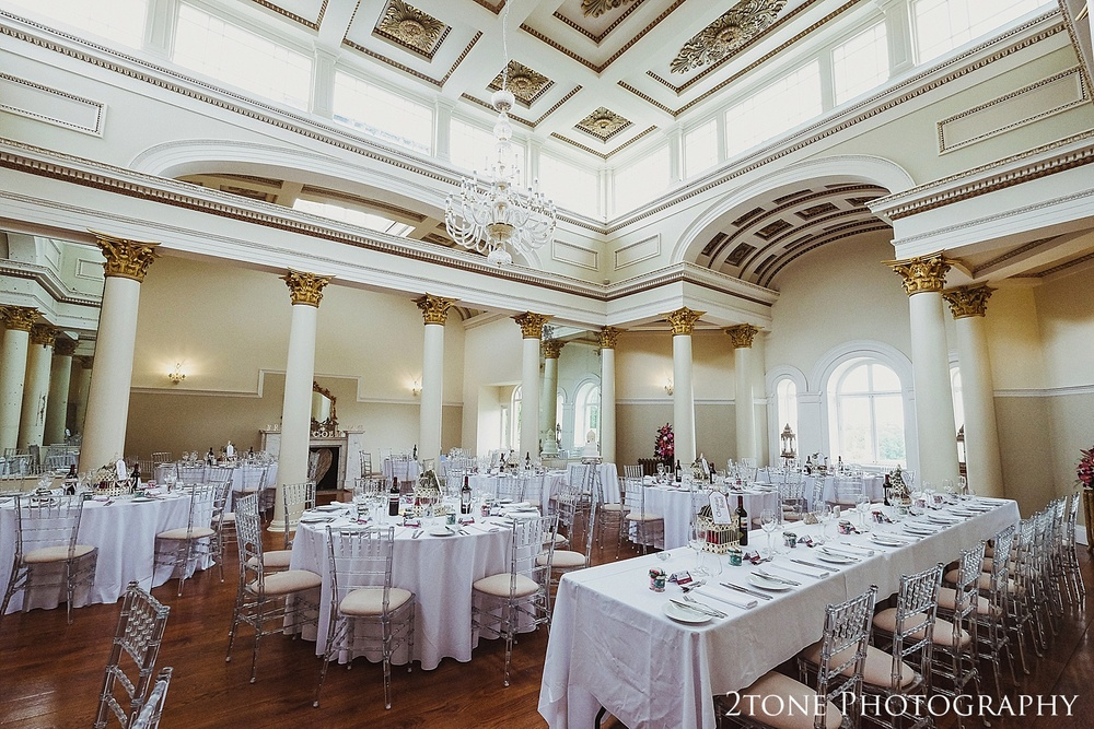 The stunning ballroom in Lartington Hall is ideal for a grand wedding breakfast.