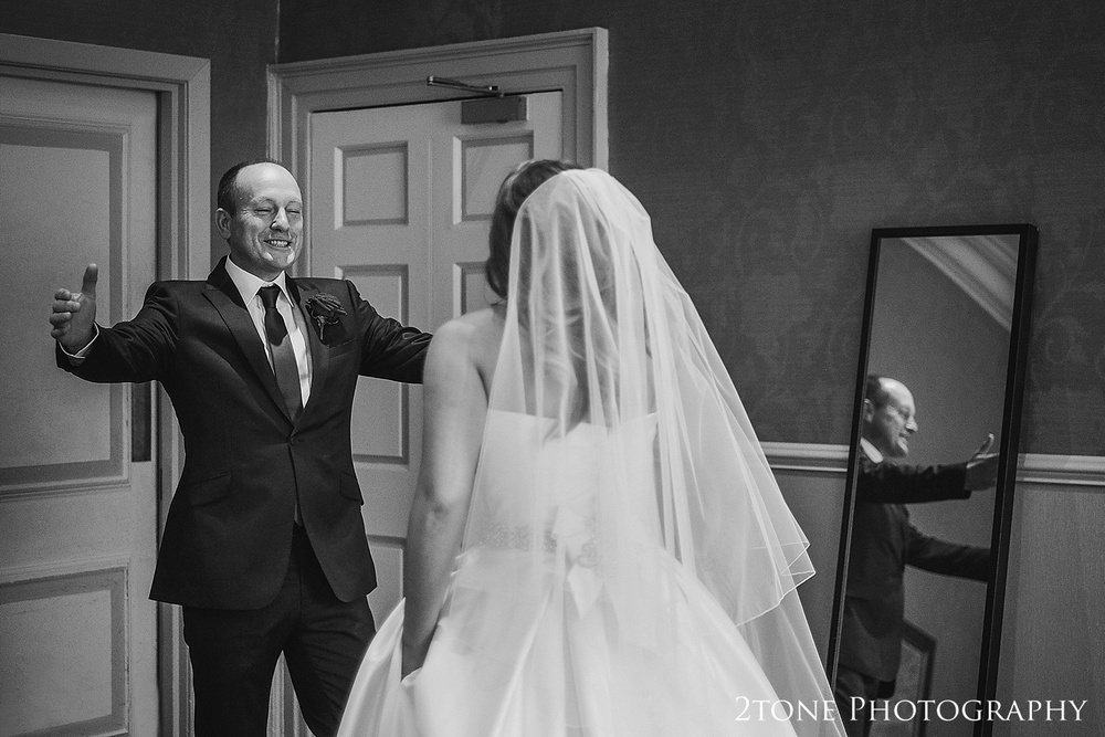 Bride meeting her dad an her wedding day.  Wedding photography newcastle, www.2tonephotography.co.uk