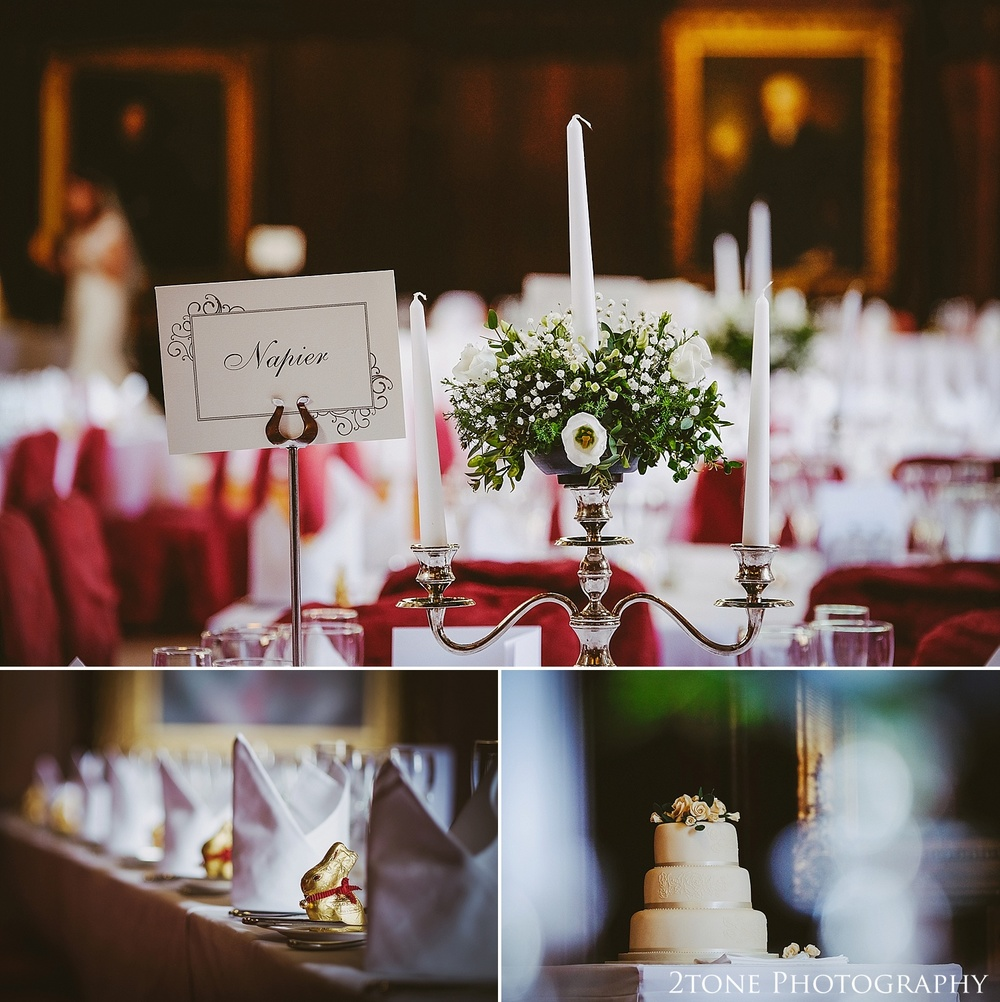 Wedding breakfast details.  Durham Castle wedding Photography by Durham and Newcastle wedding photographer www.2tonephotography.co.uk