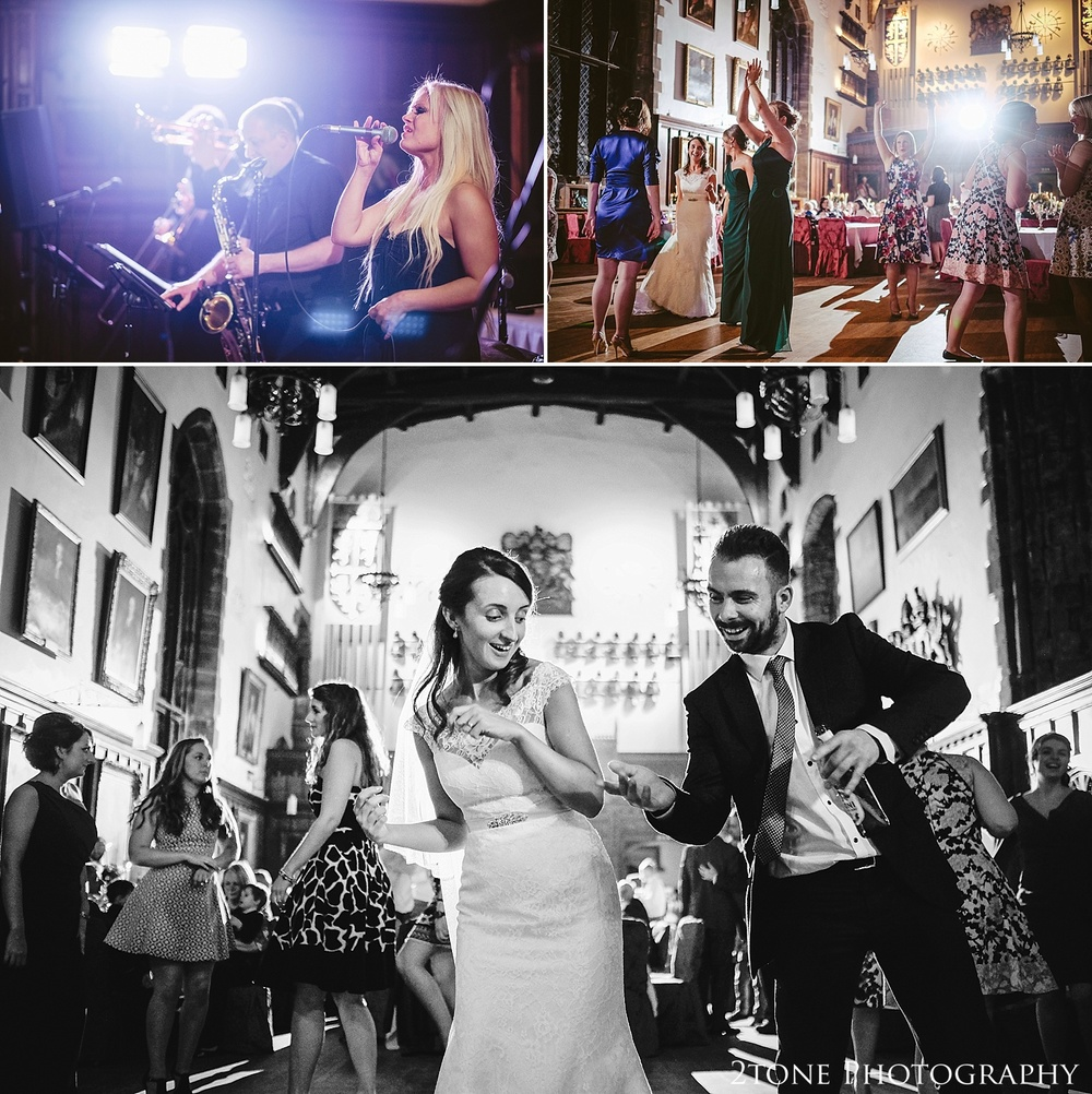 Wedding evening, guests dancing.  Durham Castle wedding Photography by Durham and Newcastle wedding photographer www.2tonephotography.co.uk
