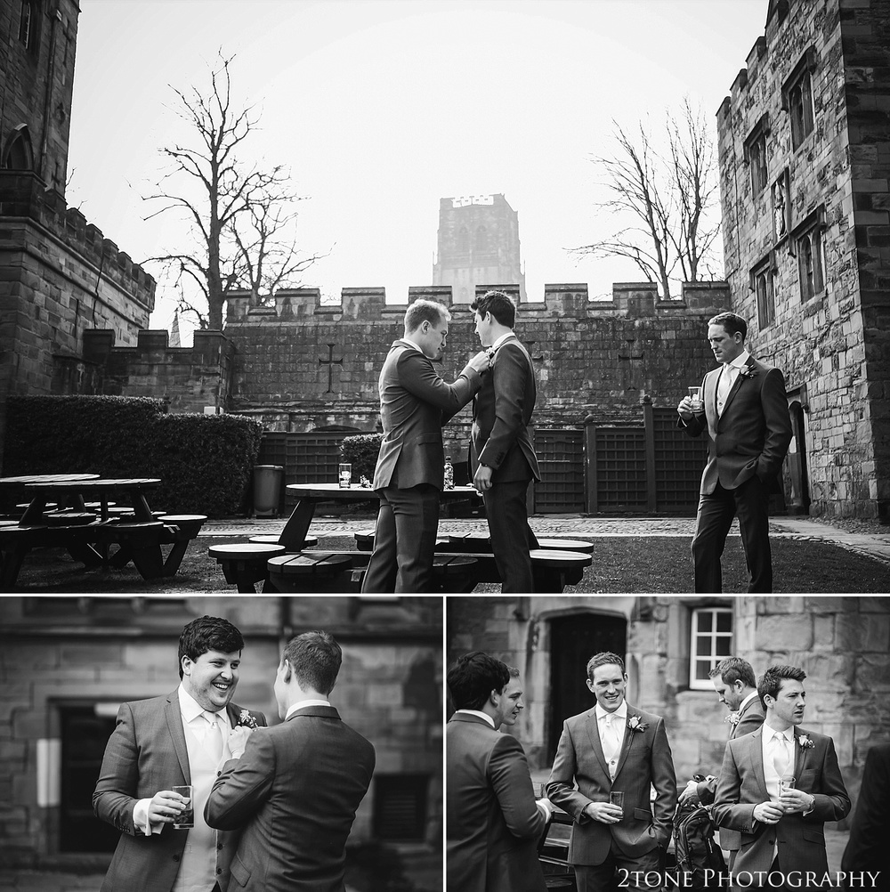 Groom getting ready at Durham Castle.  Durham Wedding Photography by www.2tonephotography.co.uk