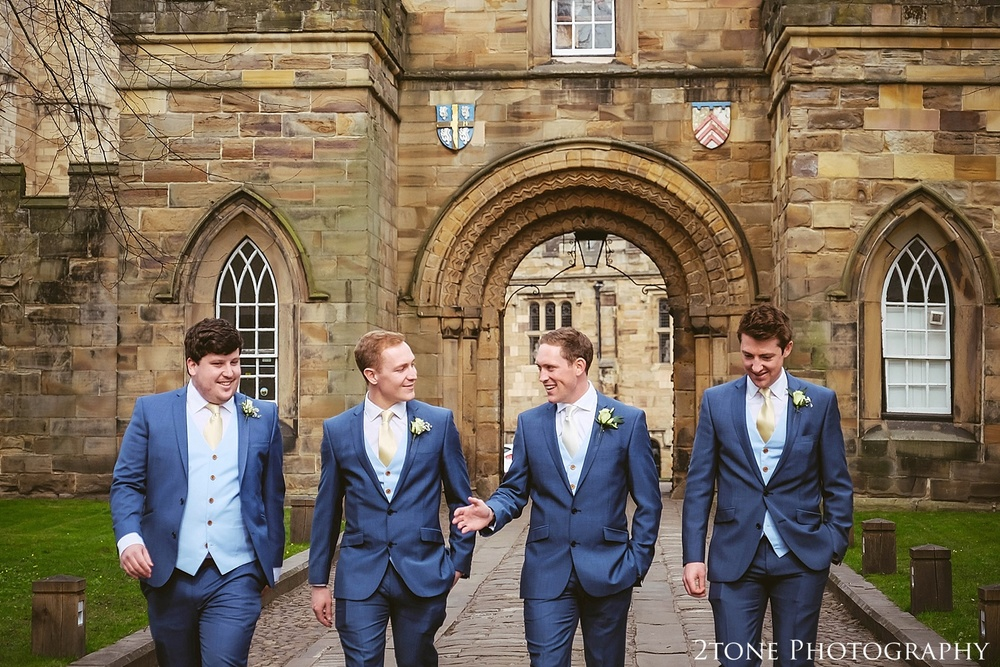 Groom and Groomsmen at Durham Castle.  Durham Wedding Photography by www.2tonephotography.co.uk
